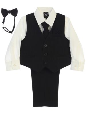 Boys Black Pin  Striped Vest Set