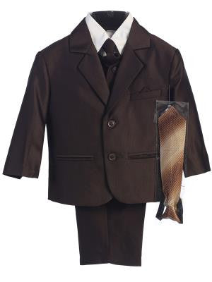 Boys Brown Herringbone Pattern Two Button Suit