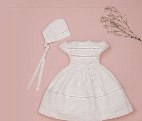 Girls Cotton Christening Dress with Bonnet