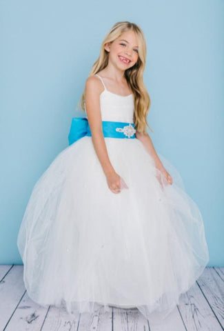 Girls Tulle Full Length Dress with Rhinestone Pickup Skirt