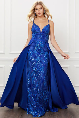 Junior V Neck Embellished Gown with Overskirt
