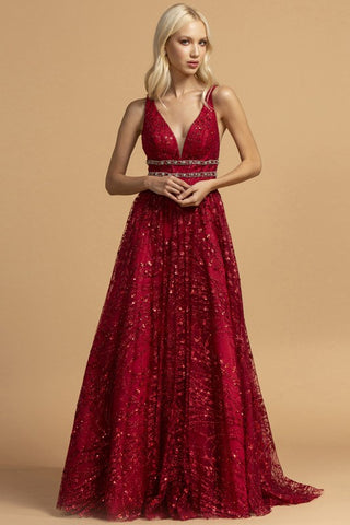 Juniors A-line Sequin and Glitter Gown