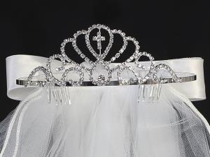 "24"" Veil with Rhinestone Cross Tiara"