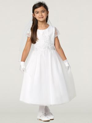 Embroidered Tulle and Sequin Communion Dress