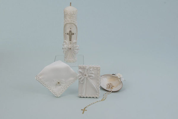 Baptism Candle Set WIth Cross and Bible