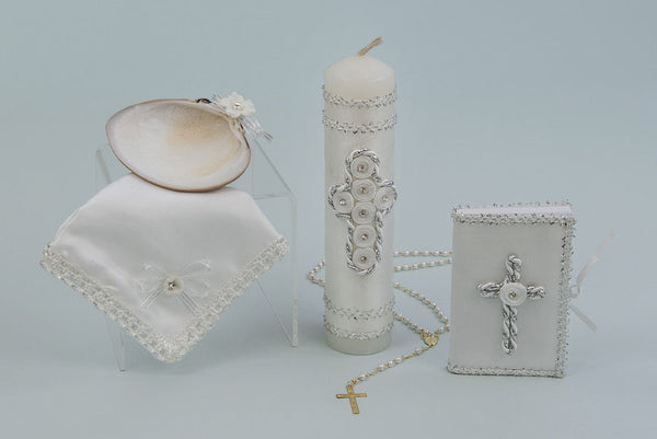 Baptism Candle Set With Corded Cross Design