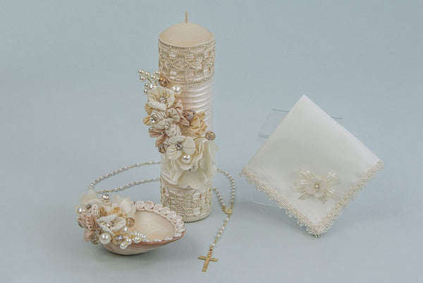 Baptism Candle Set With Flowers