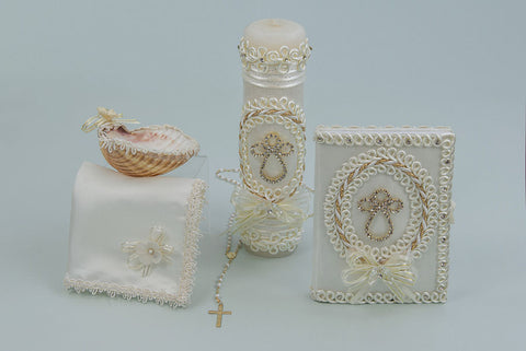 Baptism Candle Set with Corded Cross