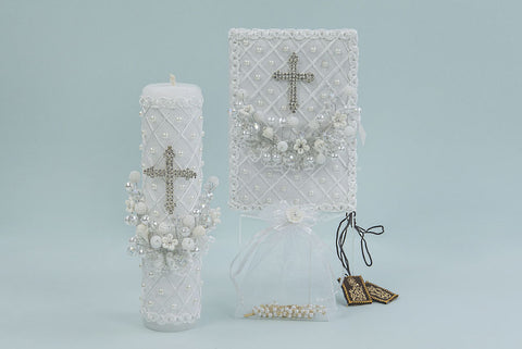 First Communion Flower and Cross Candle Set