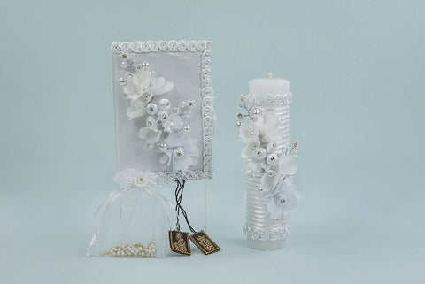 Baptism Candle with Lilly Flowers