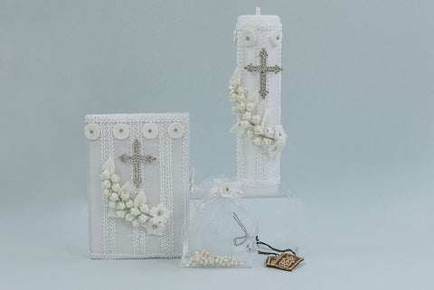 First Communion Candle Set with Silver Cross