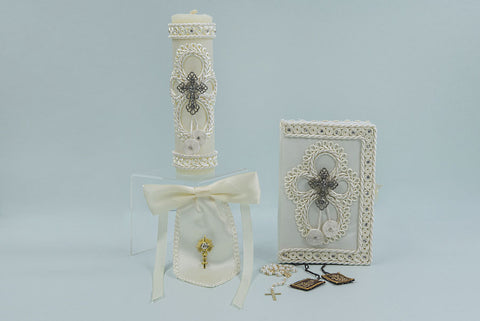 First Communion Metal Cross Candle Set