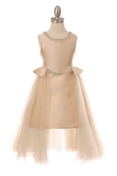 Girls Pearl Beaded Satin Dress with Tulle Overskirt