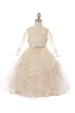 Girls Pearl and Rhinestone Lace Layered Flower Girl Dress
