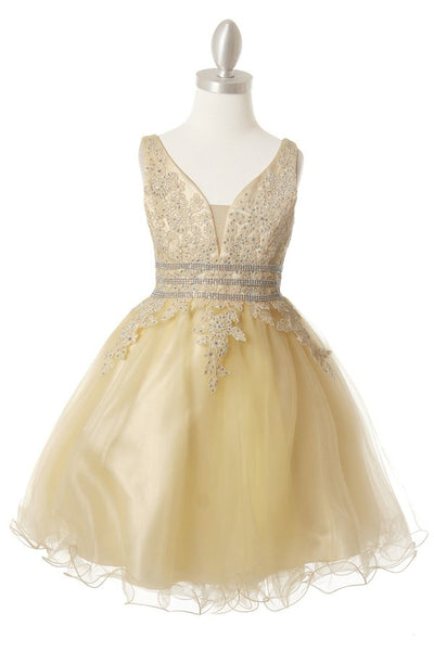 Girls Lace and AB Stone Party Dress