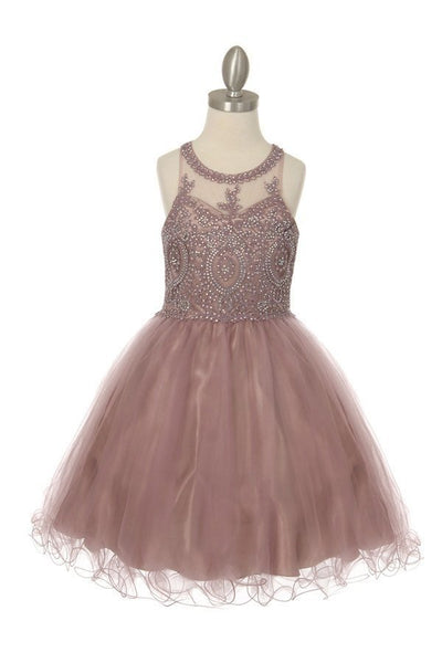 Girls Sweetheart Neck Line Beaded Party Dress