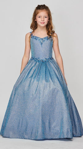 Girls Cap Sleeve Metallic Pageant Gown