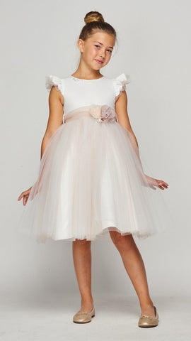 Girls Ruffle Sleeve Formal Dress