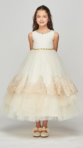 Girls Metallic Lace Layered Flower Girl Dress