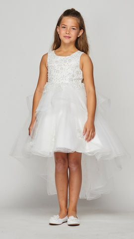Girls Lace Applique High Low Dress