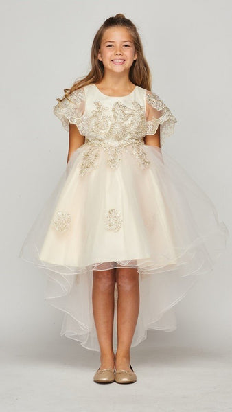 Girls Lace Cape High Low Dress