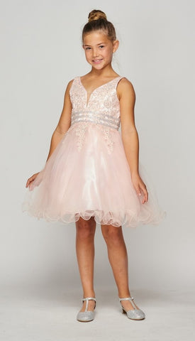 Girls V Neck Party Dress