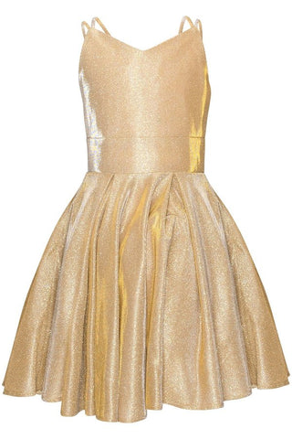 Girls Metallic Double Strap Party Dress