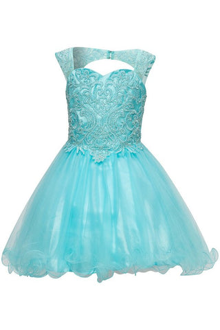 Girls Beaded Lace and Tulle Party Dress