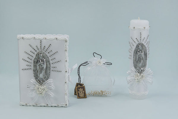 First Communion Candle Set with VIrgen Mary