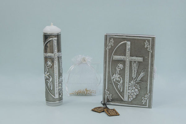 Religious Candle and Bible  Metal Set With Cross