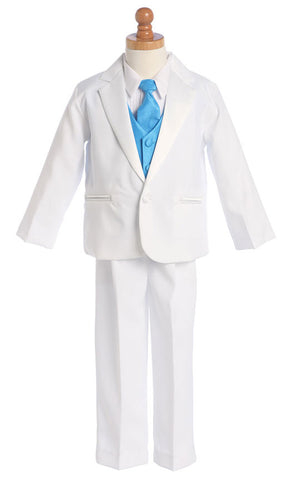 Boys Tuxedo Suit with Color Change Vest & Clip-on Necktie