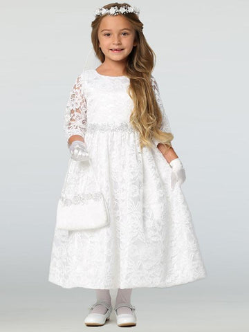 Girls Long Sleeve Lace Communion Dress