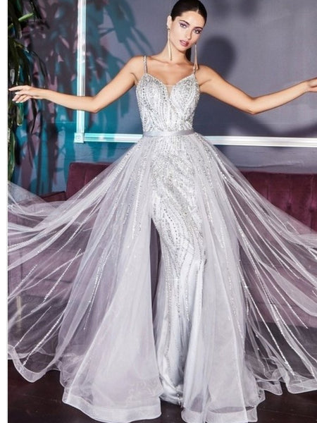 Silver Fitted Gown With Overlay