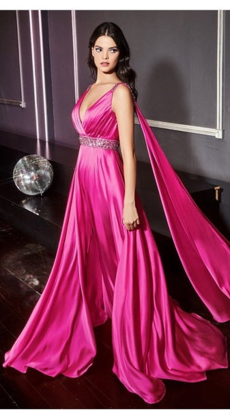 Satin A-Line Gown with Cape Sleeve