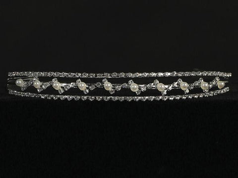 Rhinestone and Flower Pearl Headband Tiara