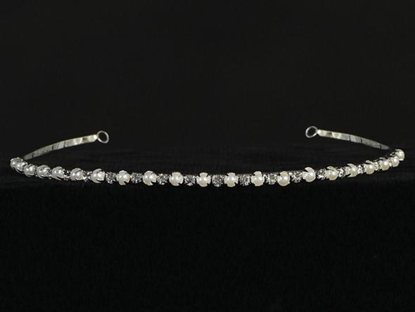 Rhinestone and Flower Pearl Tiara