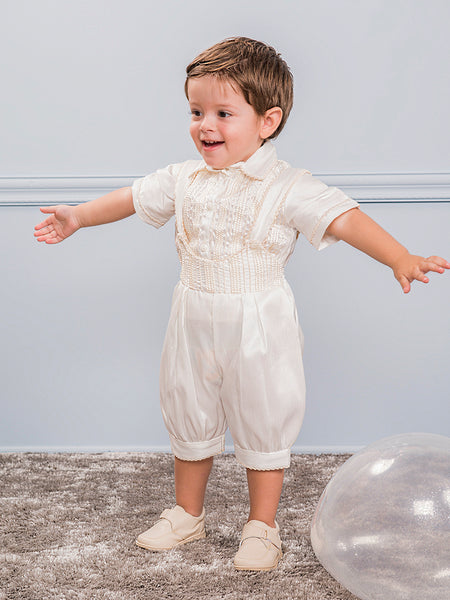 Boys Linen Embroidered Knicket Set
