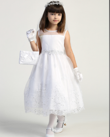 Girls Embroidered Organza and Sequin Communion Dress