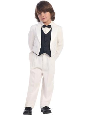 Boys Tailcoat Tuxedo with Color Change Vest and Bow Tie