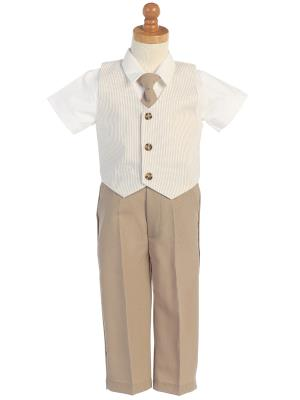 Boys Seersucker Khaki Vest and Pant Set