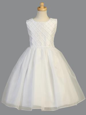 Girls Shantung and Pearl Communion Dress