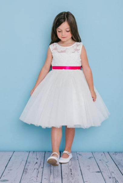 Girls Soutache Lace Top Flower Girl Dress