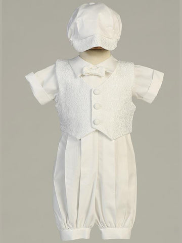 Allen Cotton Baptismal Romper with Brocade Vest