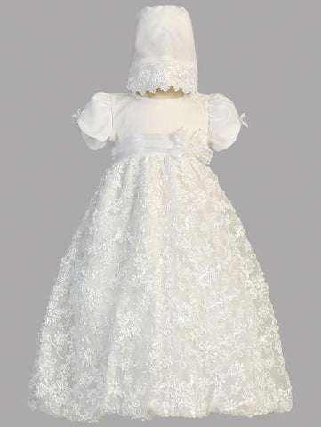 Amber Satin Ribbon Tulle Christening Dress