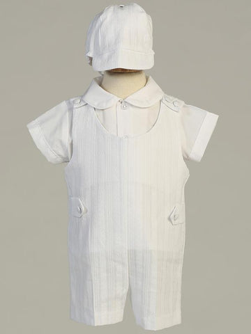 Archie Embroidered Cotton Christening Romper