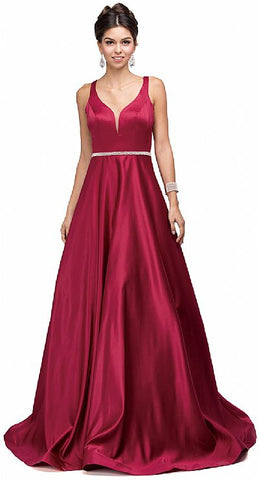 V Neck Bejewel Waist Satin Floor Length
