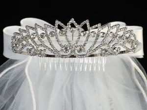 "24"" Veil Rhinestone Tiara Communion Headpiece"