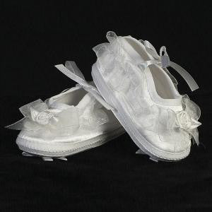 Girls Organza Trim Satin Booties