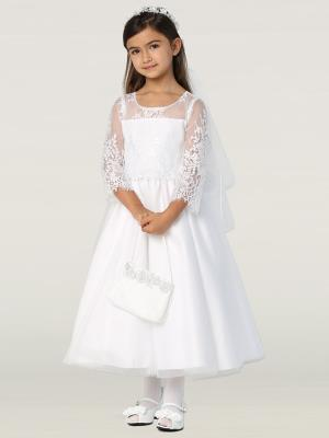 Embroidered Lace Top Communion Dress