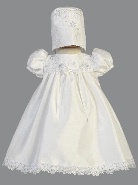 Becky Shantung and Embroidered Tulle Christening Dress